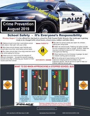 August 2019 Back To School Crime Prevention Newsletter
