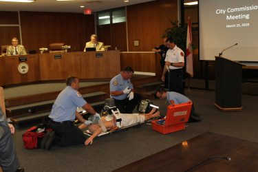 4 Firefighters Demonstrate Lucas Machine