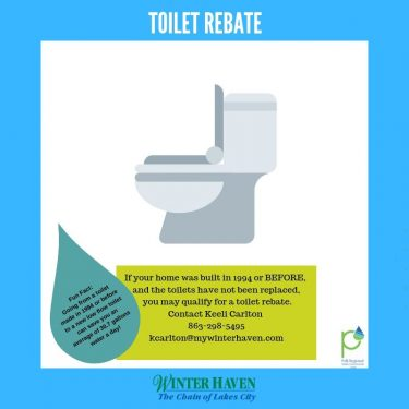 Toilet Rebate Graphic: Fun Fact did you know if you replace a toilet that was made in 1994 or before with a new low flow toilet you can save an average of 30.7 gallons of water a day! If your home was built in 1994 or before and the toilets have not been replaced you may qualify for a toilet rebate. Contact Keeli Carlton at 863-294-5495 or kcarlton@mywinterhave.com