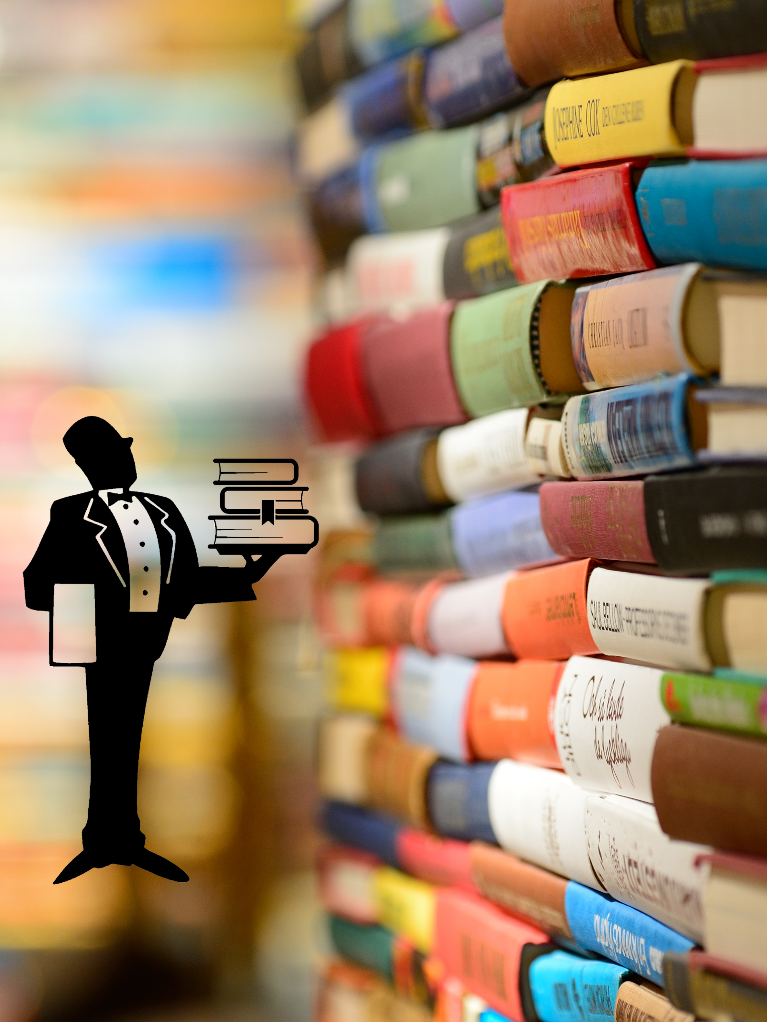 Personal shopper service logo butler holding books on top of background of books